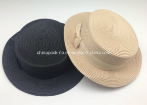 Polyester Straw Bowler Hats for Girl with Ribbon (CPA_80049) pictures & photos
