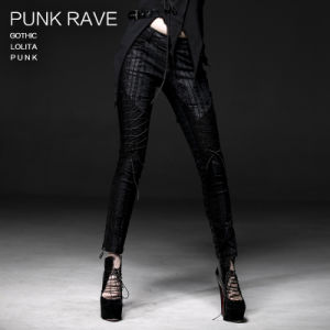 Top Fashion Gothic Steampunk Latest Black Long Trousers (K-184) pictures & photos