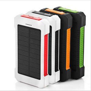20000mAh Solar Charger Sunpower Panel Power Bank Waterproof, Dust-Proof and Shock-Resistant LED Light, USB Cable + Hook pictures & photos