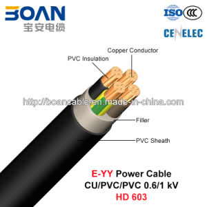 E-Yy, Low Voltage Power Cable, 0.6/1 Kv, Cu/PVC/PVC (HD 603) pictures & photos
