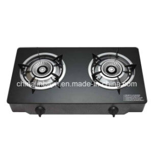 2 Burners Tempered Glass Top Brass 120mm Stainless Steel Burner Cooker/Gas Stove pictures & photos