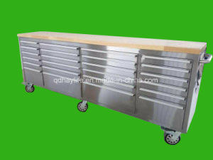 Stainless Steel Cabinet Workbenches with Top Wooden Panel pictures & photos