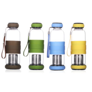 Borosilicate Glass Water Bottle with 304 Stainless Steel Tea Strainer