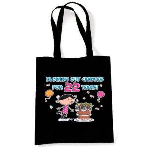 Pretty&Fancy Black Cotton Fabric Kids Birthday Gift Bag