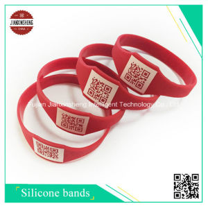 Silicone Wristband with Different Qr Code/2D Aztec Code/Barcode pictures & photos