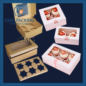 Folding Paper Plain White Cup Cake Box with PVC Window Wjl-Bx063 pictures & photos