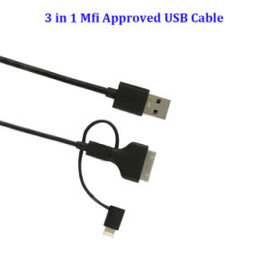 Promotional 3 in 1 Mfi Certificate USB Cable for Data Transfer Cable pictures & photos