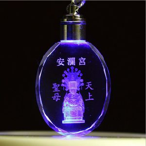 High Quality Laser Engraving LED Light Crystal Key Ring pictures & photos