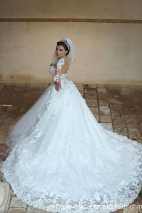 Sheer Long Sleeves Bridal Ball Gown Tulle Lace Puffy Arabic Wedding Dress G1705 pictures & photos