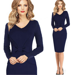 New Ladies Long Sleeve Casual V Neck Slim Pencil Dress pictures & photos