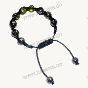 Fashion Bracelet, Black Acrylic Bracelet Rhinestone 10mm Round Cloisonne Bead pictures & photos