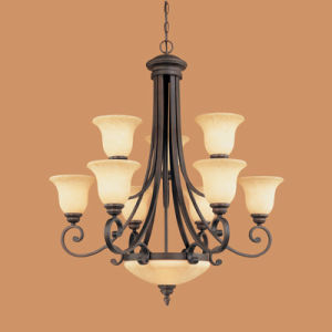 Hot Sale Iron Chandelier Light with Glass Shade (1211RBZ)