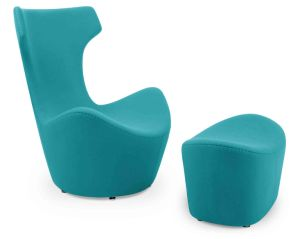 High Back Cashmere Fabric Fiberglass Leisure Chair Set (FC-019)