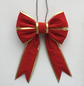 Giant Red Velvet Gold Trim Christmas Bow for Wreath pictures & photos