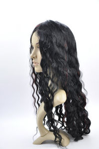 PU Lace Base High Density Black and Red Color Remy Human Hair Full Lace Wig pictures & photos