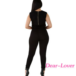 Creative Zip Line Black Stretchy Jumpsuit pictures & photos