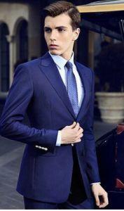 Latest Navy Blue Peak Lapel Wool Striped Men′s Suit pictures & photos