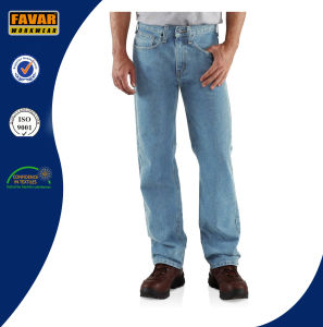 Mens Straight Leg Relaxed Fit Work Jeans pictures & photos