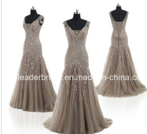Crystals Prom Party Dress Vestidos V-Neck Tulle Brown Evening Dresses E165112 pictures & photos