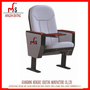 Exhibition Meeting Room Plastic Auditorium Chair with Solid Wood Armrest