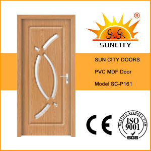 Hot Sale Interior PVC MDF Glass Wood Bathroom Door (SC-P161) pictures & photos