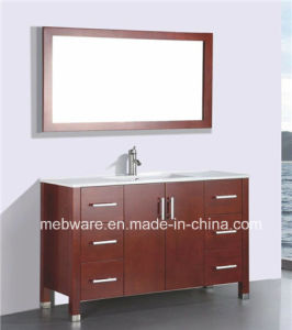 Red Brown Floor Mounted Solid Wood Bathroom Vanity pictures & photos
