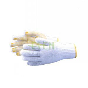 7 Gauge Bleach Cotton String Knit Gloves Yellow/Blue PVC Dots One Side Working Safety Gloves (D16-H5) pictures & photos