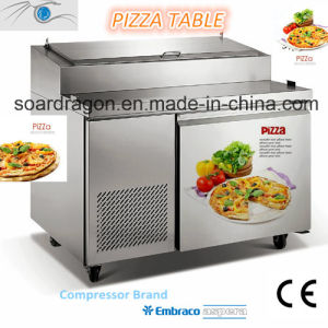 Pizza / Hamburger Working Bench with 3 Doors and Fridge pictures & photos