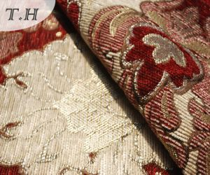 2016 Big Red Flowers Chenille Jacquard Sofa and Furniture Fabric (FTH31617) pictures & photos