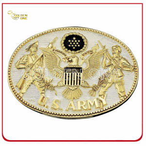 Customized Antique Gold Plated Embossed Metal Belt Buckle pictures & photos