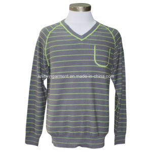 Men Knitted V Neck Long Sleeve Casual Sweater with Color Stripes and Overlocks