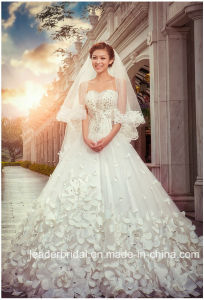 Crystal Bridal Ball Gowns Custom Petals Flowers Wedding Dress Lb17801 pictures & photos