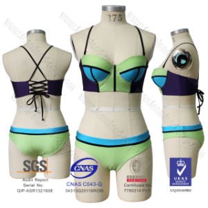 2016 Women′s Padded Push up Halter Bikini Lycra /Spandex Swimwear pictures & photos