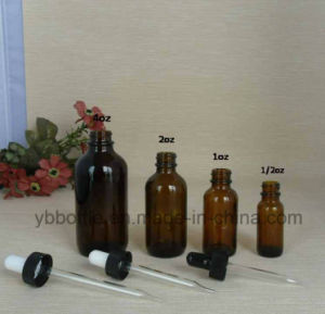 Glass Bottles, Amber Rounds W/ Black Bulb Glass Droppers pictures & photos