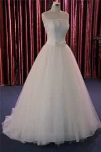 Strapless Satin Lace Bridal Gown Wedding Dress pictures & photos