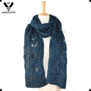 Acrylic Mohair Mixed with Nep Yarn Jacquard Women Knitting Scarf pictures & photos