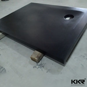 Black Solid Surface Resin Stone Shower Base for Bathroom pictures & photos