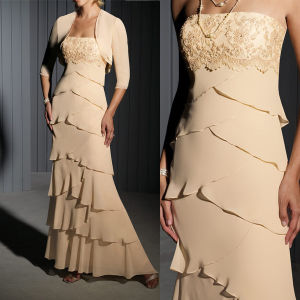 Strapless Mother of The Bridal Dress Chiffon Jacket Evening Dress M1305201 pictures & photos