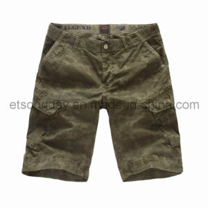 Printed Green 100% Cotton Men′s Shorts (PSH42613) pictures & photos