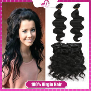 Brazilian Clip in Human Hair Extensions Body Wave 100% Human Hair Clip in Body Wave Hot Full Head Clip in Human Hair Extensions pictures & photos
