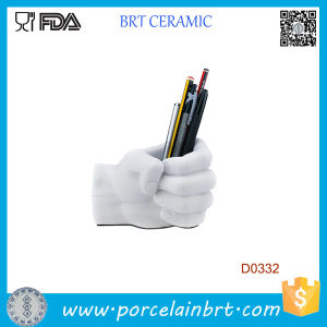 White Hand Shape Ceramic Pen Container pictures & photos