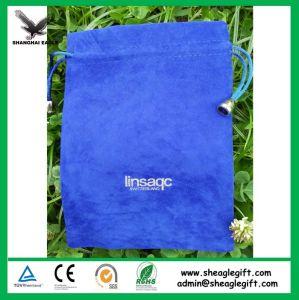 Blue Velvet Drawstring Wine Bag 10X25cm pictures & photos