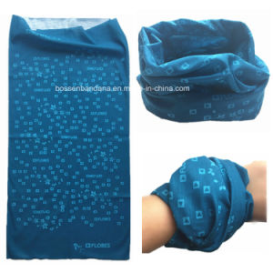 Customized Design Promotional Printed Polyester Microfiber Blue Multifunctional Magic Neck Warmer pictures & photos