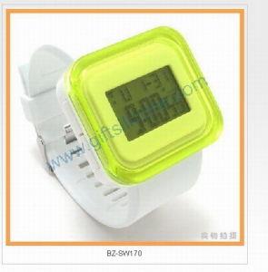 Yellow Square Fashion LED Silicone Wrist Watches (BZSW018)
