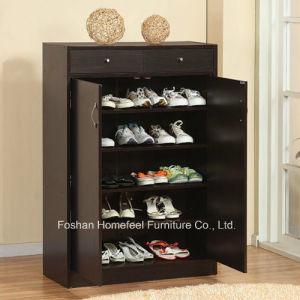 5 Shelf Black Wooden Shoe Storage Cabinet pictures & photos