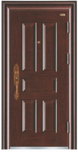 Deep Embossing Simple Design Panel Steel Security Door pictures & photos