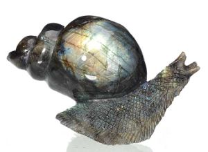 Natural Labradorite Carved Snail Sculpture Home Decoration #Aj02