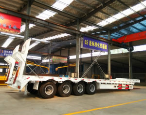 4 Axle Lowbed Semi Trailer, 80 Tons Low Loader Truck Trailer for Sale pictures & photos