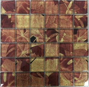 Modern Style Maple Leaf Laminated Glass Mosaic Tile pictures & photos