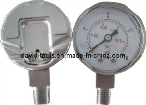 Chromed Plated Steel Case Bottom Connection Oxygen Pressure Gauge